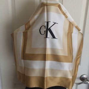 Calvin Klein Logo Scarf in Gold and Cream Colorway